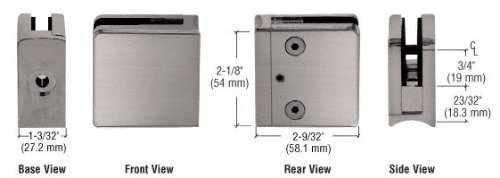 (C.R. LAURENCE Z610BN CRL Brushed Nickel Z-Series Square Type Radius Base Zinc Clamp for 3/8 Glass by C.R. Laurence)