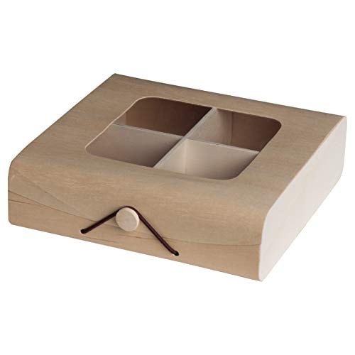 Candy Box Wood - Hammont Wooden Case Candy Gift Box (4 Pack)- Present Boxes Best for Birthday, Wedding and Party Favors (7''x7''x2'')