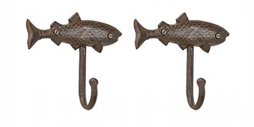 Rustic Finish Cast Iron Nautical and Maritime Fish Hook Hanger. 6 Inches Long By 5.5 Inches Tall By 2 Inches Wide Set of 2 (Wall Hook Fish)