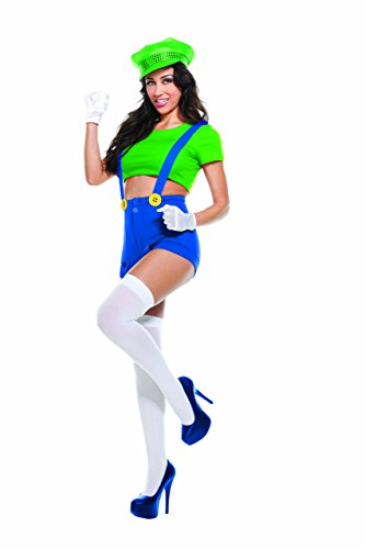 Starline Women's Green Video Game Player 4 Piece Costume Set, Green, Medium