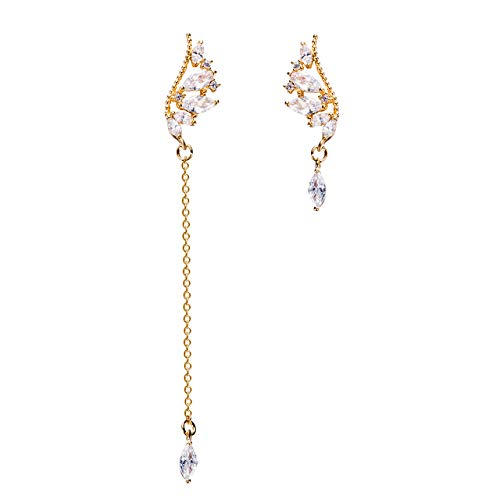 Plated Gold Marquise Earrings - Tilevera Cuffs & Wraps Gold-plated Crystal Embellished Angel Wing Earrings