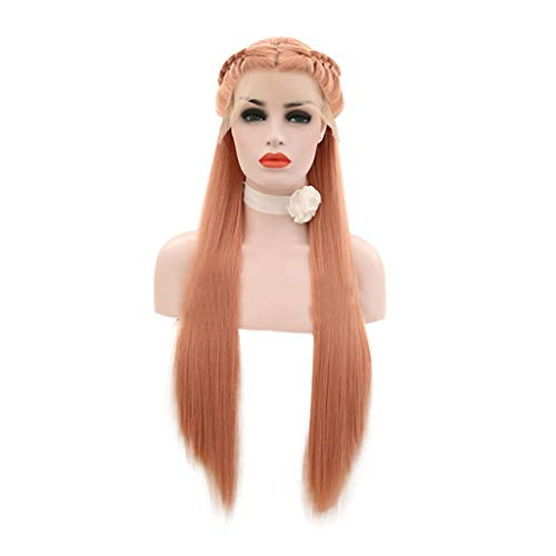 Weiweidain Synthetic Baby Hair Braided Double Lace Front Wig Long Ombre Colorful -