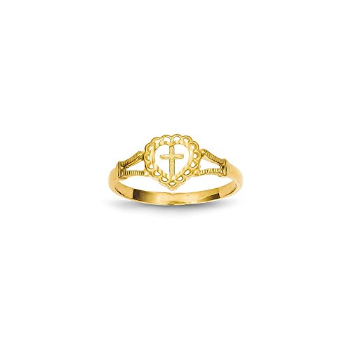 JewelrySuperMartCollection 14k Yellow Gold Diamond-Cut Childs Heart & Cross Ring (8mm Width) - Size 5.5
