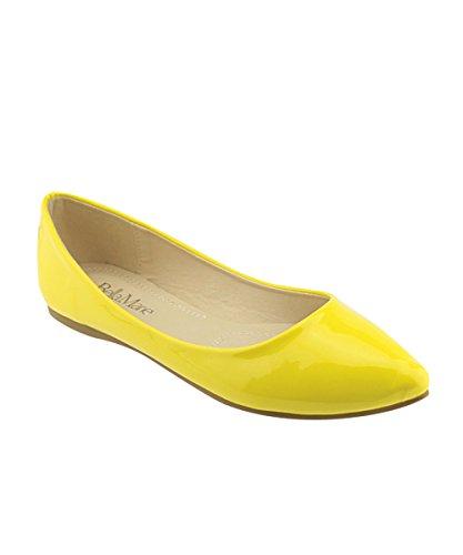 Bella Marie Kvinna Klassiska Spetsiga Tå Balett Slip På Flats-skor Gul Patent