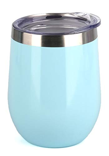 SUNWILL Insulated Wine Tumbler with Lid (Pearl Blue), Stemless Stainless Steel Insulated Wine Glass 12oz, Double Wall Durable Coffee Mug, for Champaign, Cocktail, Beer, Office use ()