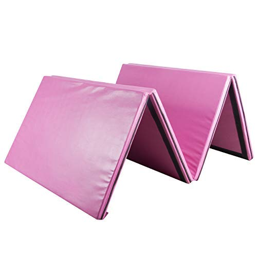 Easyzon Folding Gymnastics Mat Thick Exercise Tumbling 4 Panel Mat with Carrying Handle for Gym Fitness Exercise Aerobics, 4'x8'x2 (Rose Red)