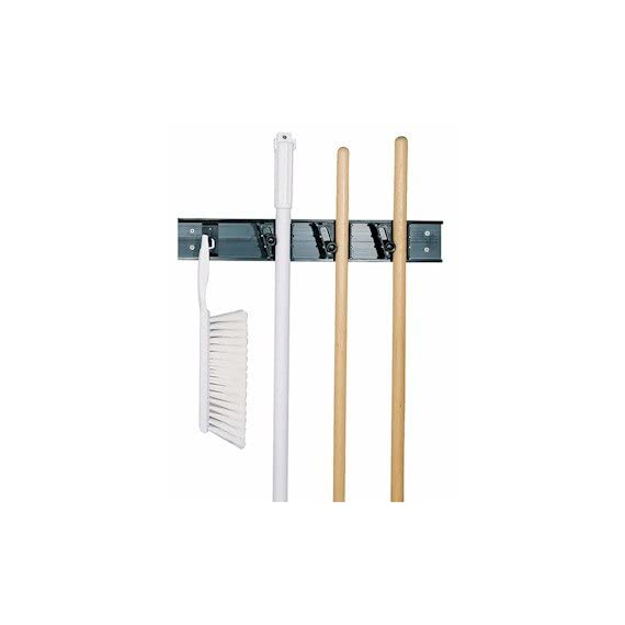 Carlisle 4073100 roll 'n grip mop, broom and tool holder/storage system 1 organizes brooms, mops, brushes and other handled tools roller grips self-adjust to wide variety of handle diameters slots for 3 handles and 1 hook or brushes or tools