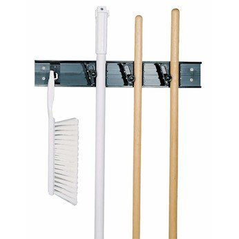 Carlisle 4073100 Roll 'N Grip Mop, Broom and Tool Holder / Storage System, 3 Positions + 1 Hook