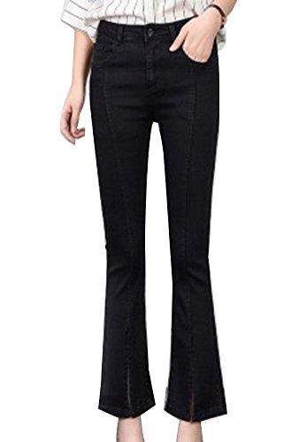 Femme Couleur Split Noir Slim Unie Fit vase Avec Jean Droite Haute Casual Rtro Jeans Boyfriend Taille Pantalon qP4rqwf8