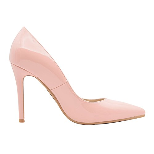 Patent Pointed Women's Shoes Solid Leather Verocara B Comfort High Toe Pumps Heel pink wfn4B