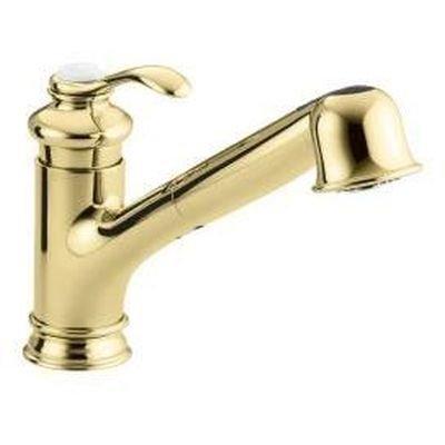 Ceramic Single Control (KOHLER K-12177-PB Fairfax Single Control Kitchen Sink Faucet, Vibrant Polished Brass)