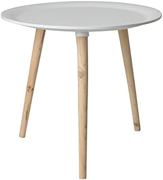 Retro – Mesa auxiliar redonda – 4 Tamaños – Mesa de madera mesa de noche Mesa sofá mesa, Blanco, 48 cm: Amazon.es: Juguetes y juegos