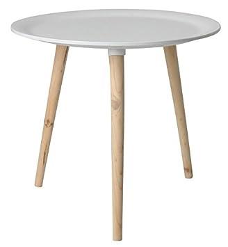 Retro Beistelltisch Rund 48 Cm Weiß Holz Tisch Couchtisch