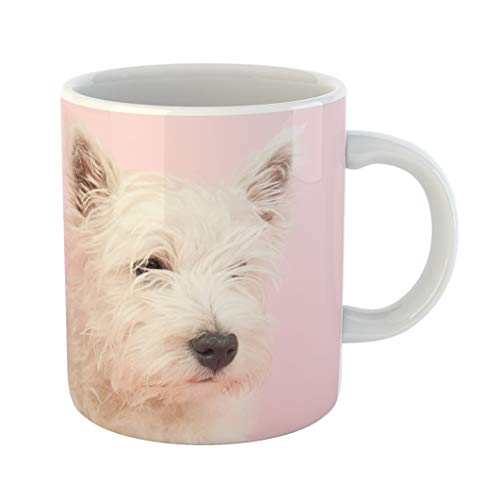 - Emvency Coffee Tea Mug Gift 11 Ounces Funny Ceramic Pink Dog West Highland White Terrier Westie Westy Animal Gifts For Family Friends Coworkers Boss Mug