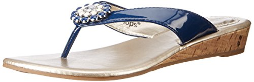 - Lindsay Phillips Women's Gwen Wedge Sandal, Navy Patent, 11 M US