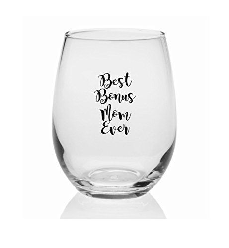 Best Bonus Mom Ever Wine Glass 9oz by The Blasted Boutique