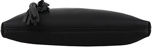 B BRENTANO Vegan Multi-Zipper Crossbody Handbag Purse with Tassel Accents (Black 1) by B BRENTANO (Image #4)