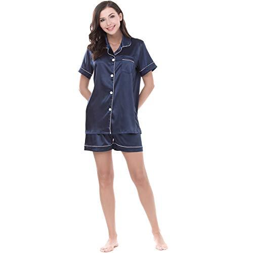 GAESHOW Womens Satin Silk Pajamas Set Short Sleeve Button-Down Pj Set Sleepwear Loungewear Two Piece Pj Sets(Navy,XL)
