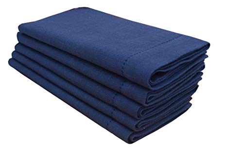 Linen Clubs 6 Pack Slub Cotton Dinner Napkins Navy Color,18x18 Inch with Mitered Corner Finish & Hemstitched Detailing Offered ()