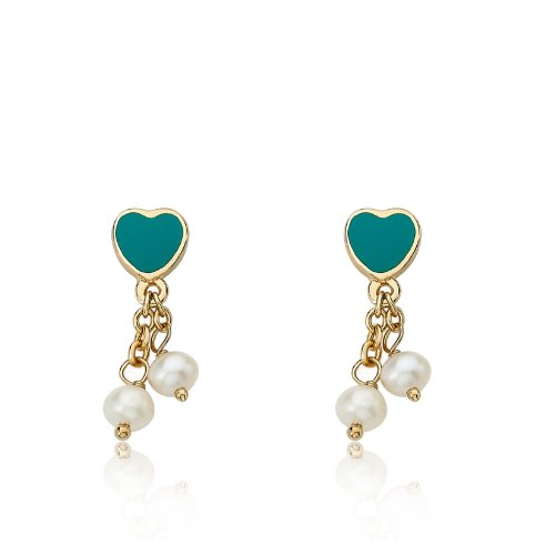 Little Miss Twin Stars I LOVE My Jewels 14k Gold-Plated Turquoise Heart & 2 Pearl Lariat Dangle - Earrings 14k Lariat