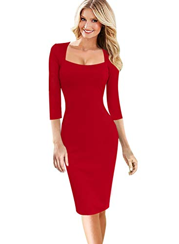 VFSHOW Womens Elegant Square Neck Work Business Office Bodycon Sheath Dress 1818 RED - Dress Neck Sheath Square