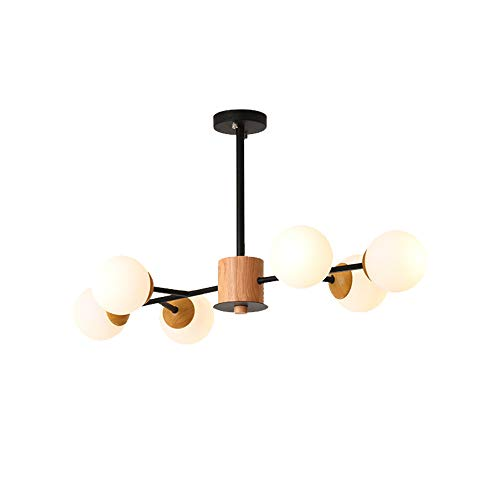 Windsor Home Deco WH-63872 Pendant Lamp, Nordic Magic Bean Pendant Chandelier, Glass Globe Lampshades, 6-Light