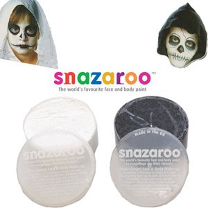 2 X-Large 30ml Snazaroo Face Painting Compacts Colors: 1 BLACK and 1 WHITE