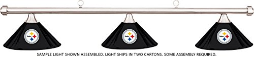 Chr Bar (NFL Pittsburgh Steelers Black Metal Shade/Chrome Bar Billiard Pool Table Light)