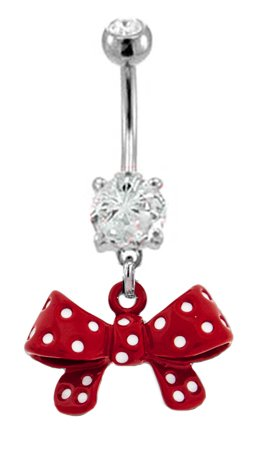 Red polka dot bow dangle wrap me up present Belly button navel Ring piercing bar body jewelry 14g