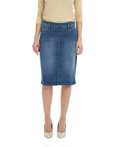 Esteez Jean Skirt for Women Knee Length Manhattan Blue ()