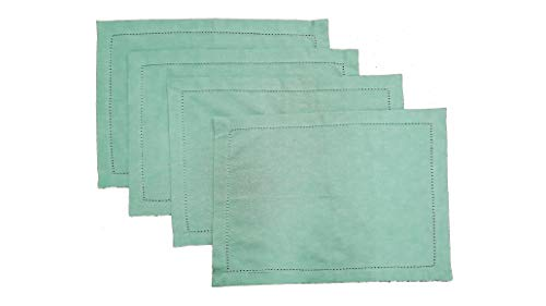 HomweLinen Table Placemats, 100% Cotton Hemstitch Placemat Set of 4-13x19 Inch, Aqua Green Chambray, Suitable for Dinner, Events & Weddings