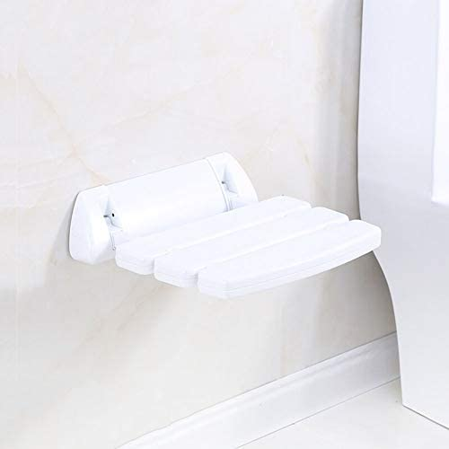 バスルームシャワーバスシート壁掛けドロップリーフスツール90°折りたたみ式デザイン、スペースを節約強力なサポートウォークウェイチェア折りたたみシャワーベンチシート、木製素材折りたたみシャワーシートは親に思慮深い贈り物を与える (Color : 白, Size : A)