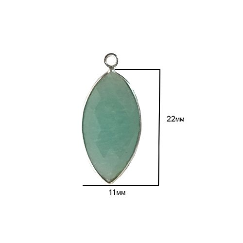 2 Pcs Amazonite Marquise Beads 11X22mm silver by BESTINBEADS, Amazonite Hydro Quartz Marquise Pendant Bezel Gemstone Connectors over 925 sterling silver bezel jewelry making supplies