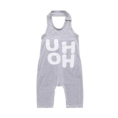 RoDeke Newborn Summer Toddler Baby Girl Boy Outfit Clothes Sleeveless Letter Uh Oh Print Backless Jumpsuit Romper 6M-6T Gray