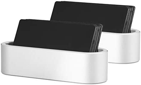 Faletony Metall Visitenkartenhalter, Business Visitenkartenständer Visitenkarten Halter Kartenhalter Card Holder für Büro Schreibtisch Bürobedarf (Silber Set, 2 Stück)