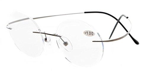 - Eyekepper Titanium Rimless Round Circle Eyeglasses Gunmetal