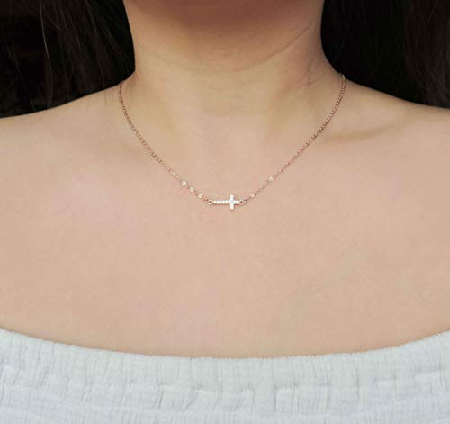 - CZ Diamond Sideways Rose Gold Cross Necklace • Encrusted CZ Cross Necklace • Christening, First Communion, Religious Necklace, Gifts for Mom
