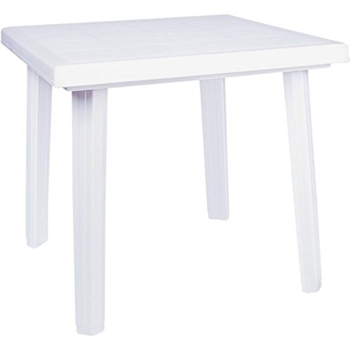 Compamia Cuadra 31'' Square Resin Patio Dining Table in White
