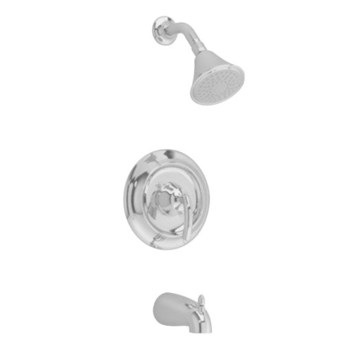 American Standard T038502.295 Tropic Bath/Shower Trim Kit with Showerhead, Flange and Arm, Slip On Diverter Tub Spout, Satin Nickel