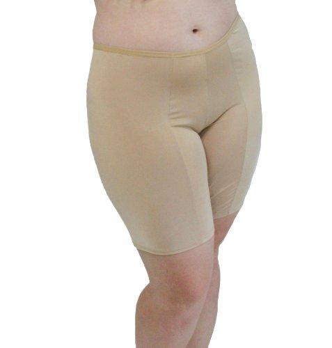 Undersummers Classic Shortlette: Rash Guard Slip Shorts (2X, Beige)