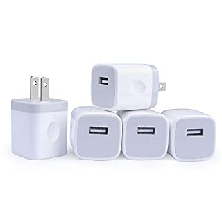 Single Port USB Wall Charger, GiGreen 1A/5V Power Adapter 5 Pack Charging Block Cube Plug Box Compatible Phone X/8/7/Xs/XR/6s/5/SE, Samsung S9/S8/S7/S6 Edge, Note 8, LG G5 V30, Moto, Pixel, Nexus, HTC