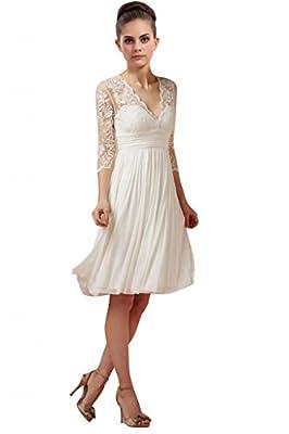 LOVEBEAUTY Women's Lace Three-Quarter Sleeve V Neck Short Wedding Dress