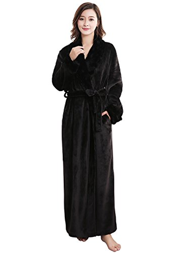 Womens Thick Flannel Bathrobe Ultra Soft Plush Microfiber Fleece