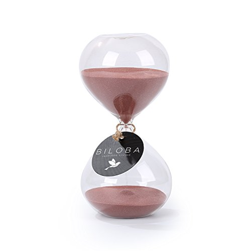 Biloba 6 Inch Puff Sand Timer/Hourglass 60 Minutes - Cocoa Color Sand - Inspired Glass/Home , Desk , Office Decor