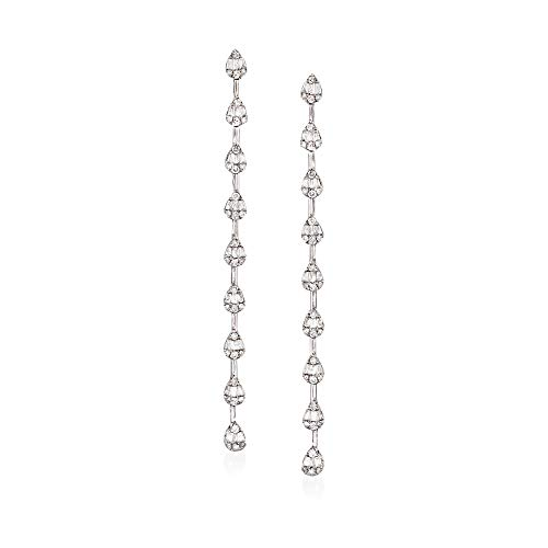 Ross-Simons 1.05 ct. t.w. Baguette and Round Diamond Linear Drop Earrings in 14kt White Gold (1.05 Ct Tw Round Diamonds)