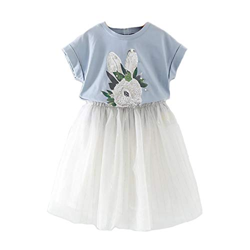 (Motteecity Girls Clothes Set Cute Rabbit Short Sleeves T-Shirt and Lace Dresses Blue 5T)