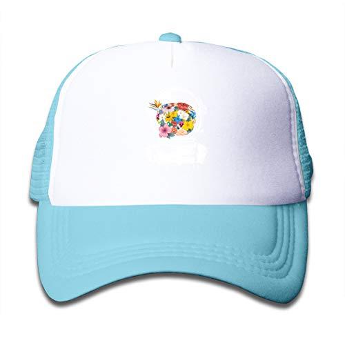 Z Cheing Astronaut Space Helmet and Flowers Mesh Baseball Caps Kids Snapback Trucker Hats Sky Blue