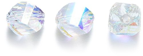 Swarovski 5020 Helix Beads, Aurora Borealis Finish, 8mm, Crystal, 6-Pack