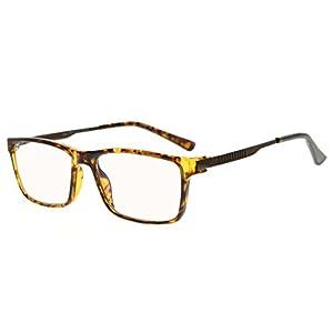 Eyekepper Noline Bifocal Progressive Multifocus Glasses 3 Levels Vision Reading Glasses Amber Tinted Blue Light Blocking (Tortoise, +2.50)