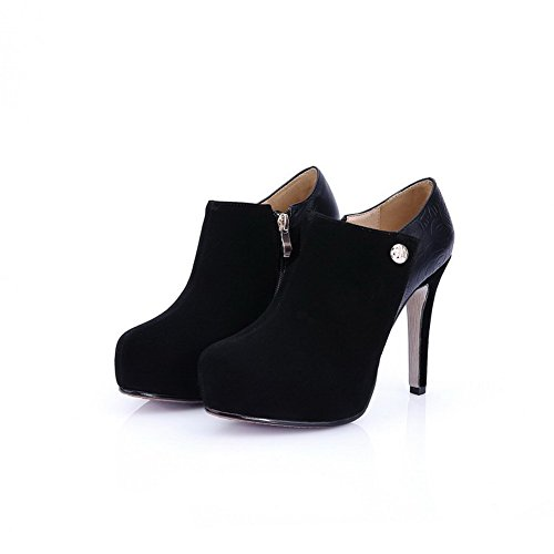 Closed Sole Womens Shoes Stiletto Toe and Boots Toe Slipping Black with AmoonyFashion High Round Heels dtqwZ4xOv